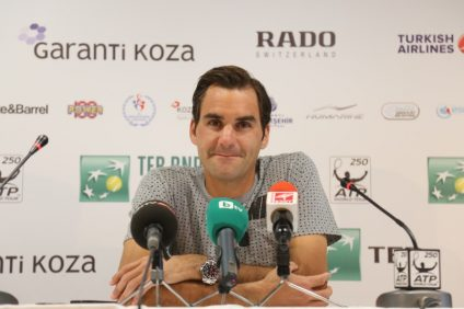 ISTANBUL, TURKEY - MAY 01, 2015: Swiss player Roger Federer in press conference after quarter final match of TEB BNP Paribas Istanbul Open 2015