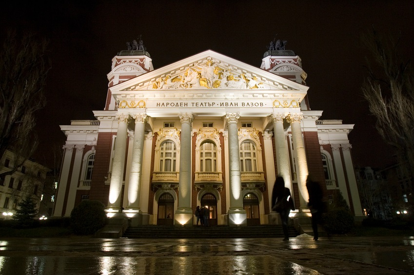 "National Bulgarian Theatre ""Ivan Vazov"" at night."