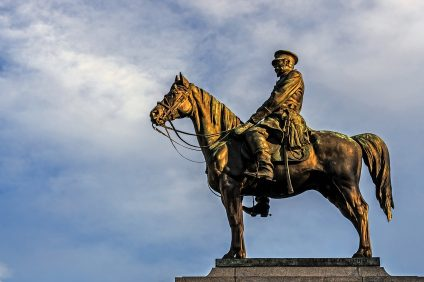 "SOFIA, BULGARIA - FEBRUARY 14, 2016: Monument to Russian Tsar Alexander II, called locally ""the liberator. Monument faces the National Assembly of Bulgaria with the Radisson Blu hotel behind."