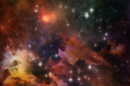 Deep Space series. Composition of  nebula, stars and colors to serve as a supporting backdrop for projects on astronomy, science, space and religion
