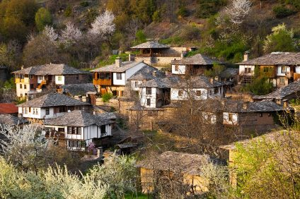 Scenic view of the mountainous historical village of Leshten with its traditional regional houses in the Province of Blagoevgrad in Bulgaria